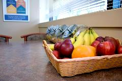 Fresh fruit, a variety of wholesome snacks, and free coffee are on-hand for an easy afternoon pick-me-up