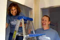 Terri and Kevin Kartak of AAA KARTAK Glass & Closet volunteering with Painting a Better Tomorrow