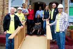 Rampathon recipient Lula Martin with volunteers from Crescent Builds