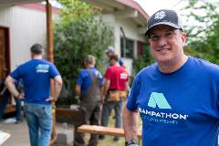 MBAKS Past President Mike Walsh with Terrene Homes Rampathon volunteers. Photo: Alabastro Photography