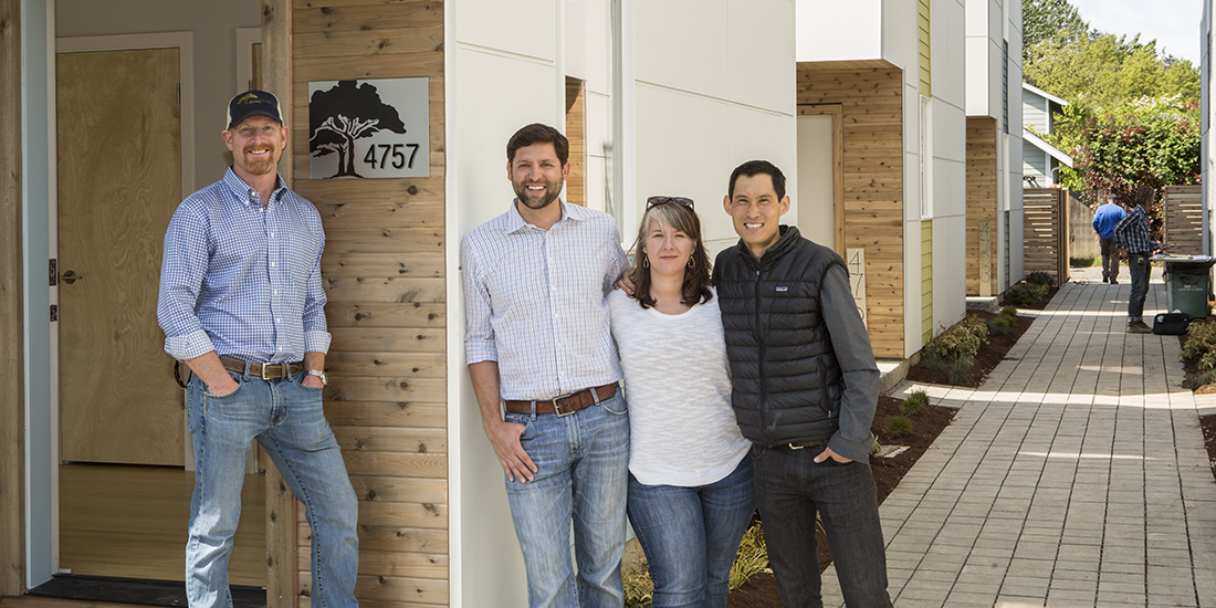 Green Canopy Homes' Aaron Fairchild, Eric Lubert, Kate Wells-Driscoll, and Sam Lai