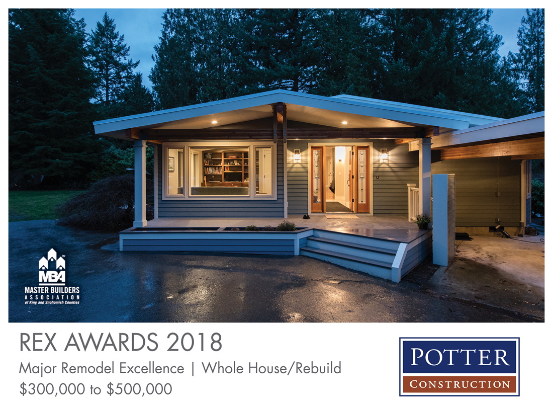 REX Award Winner: Major Remodel Excellence: Whole House/Rebuild—$300,000–$500,000: Potter Construction