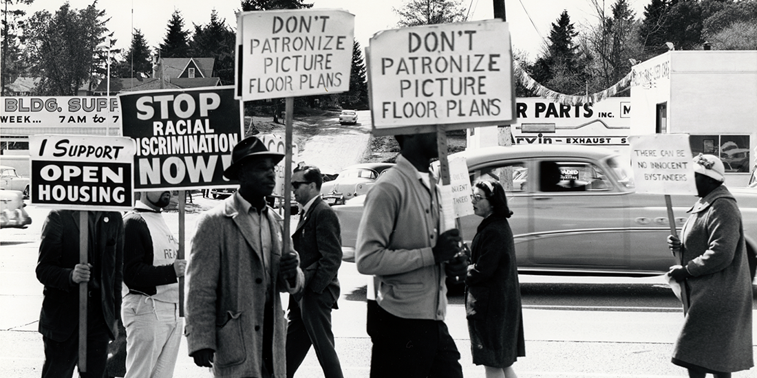 Congress of Racial Equality demonstration for open housing outside Picture Floor Plans, courtesy Seattle Municipal Archives, 63932