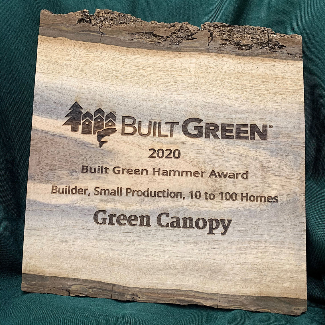 Green Canopy 2020 Built Green Hammer Award plaque