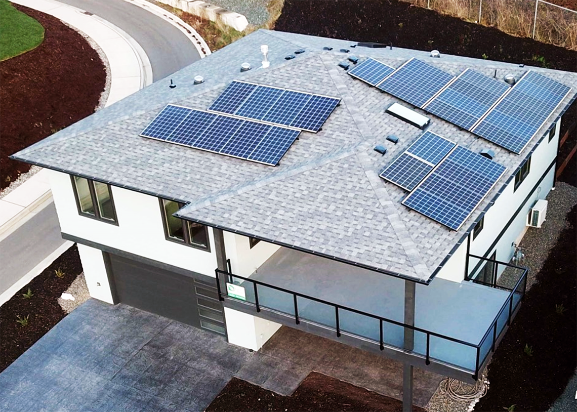 Sterling Builders Built Green 5-Star family home exterior with solar panels