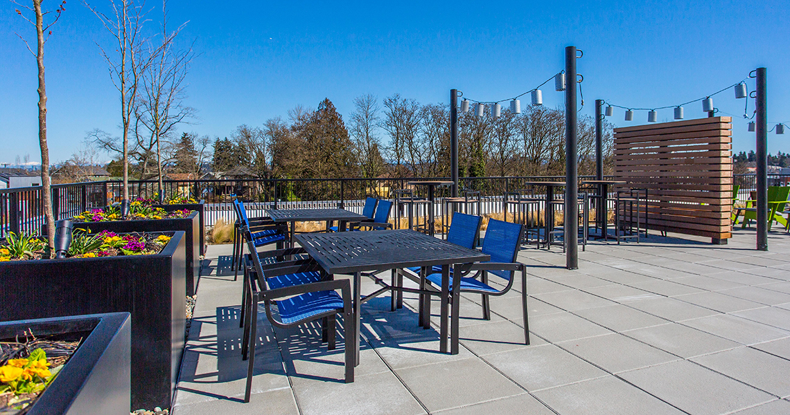 BDR Holdings Sonata Apartments at Columbia Station Built Green 4-Star roof deck. Photo credit: Heiser Media