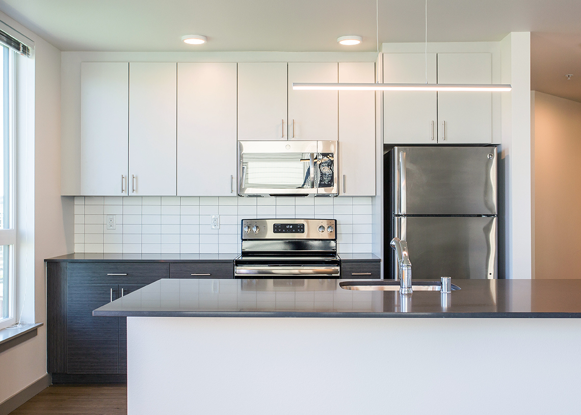 BDR Holdings Sonata Apartments at Columbia Station Built Green 4-Star kitchen. Photo credit: Heiser Media