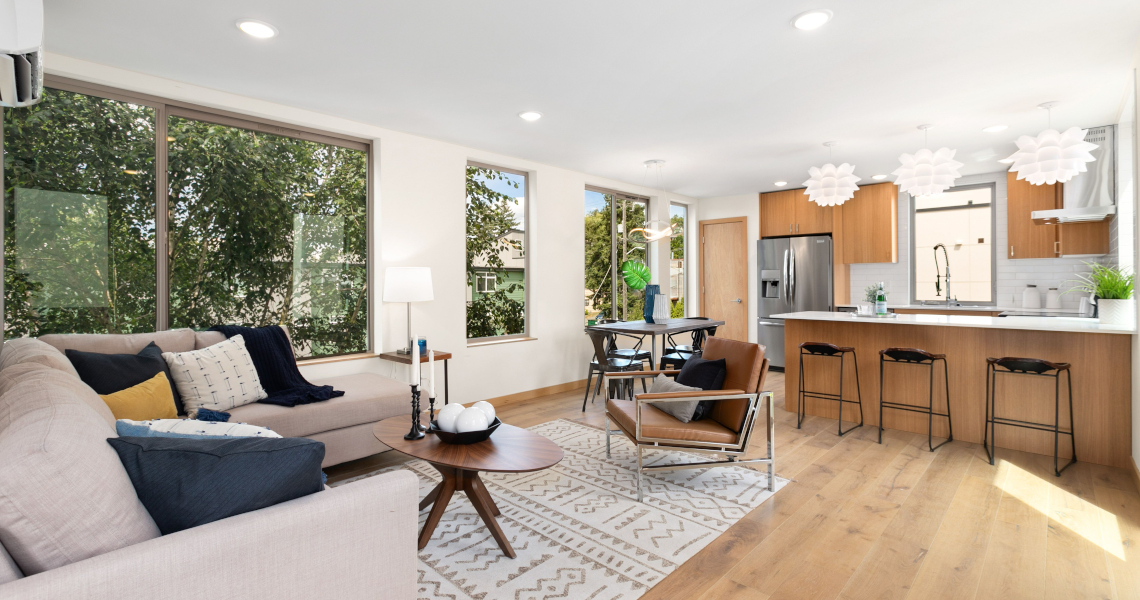 Haberzetle Homes Playful All-Electric 4-Star Townhomes great room