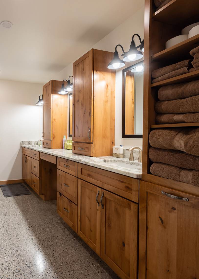 TC Legend Everson Net-Positive master bathroom, photo credit Zigzag Mountain Art
