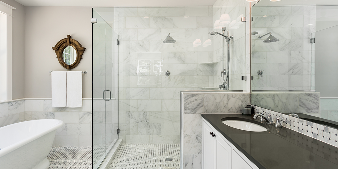 Large shower with a glass enclosure
